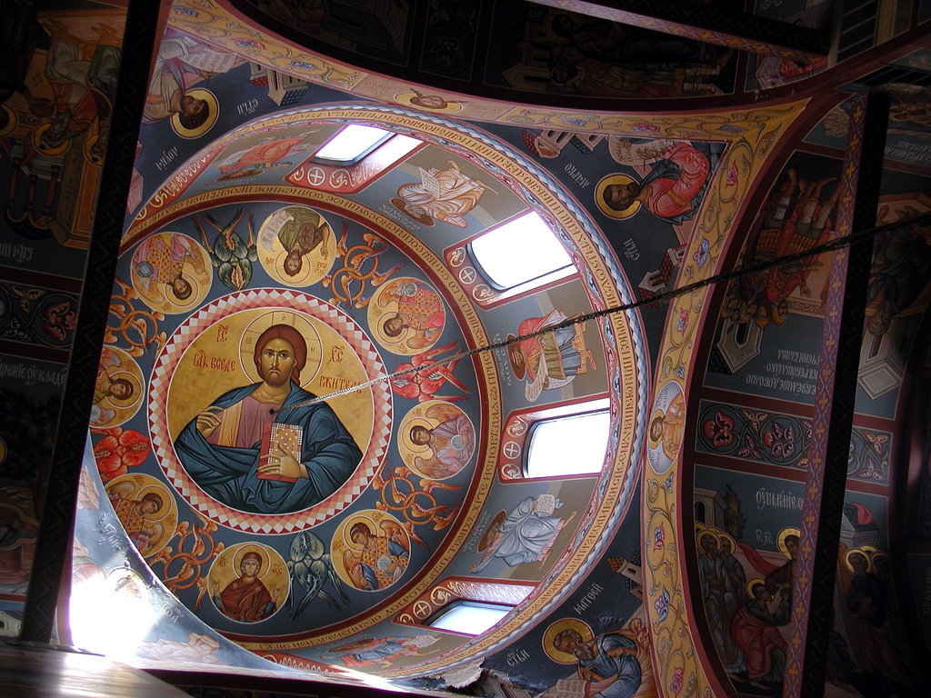 The celestial hierarchy in the dome of the New Gracanica Monastery in Serbia