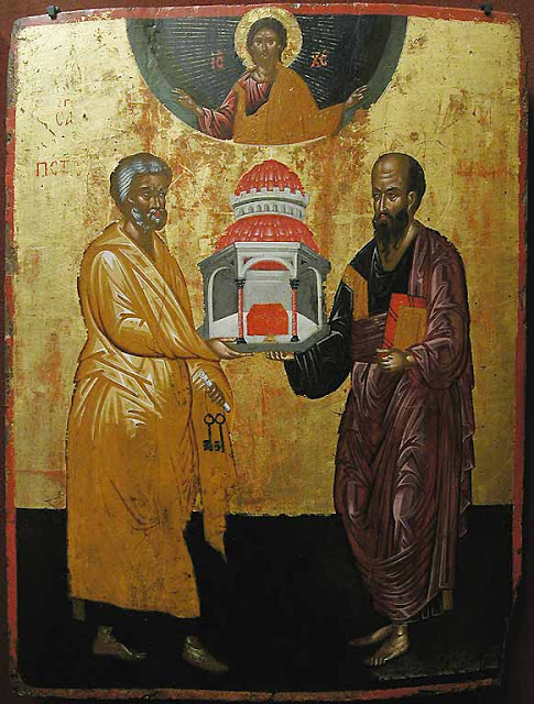 St-Peter and St-Paul as pillars of the Church.  16th century icon from the Cretan school