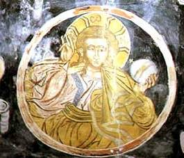 Pantocrator fresco from Ravanica where Christ holds the orb in his left hand.