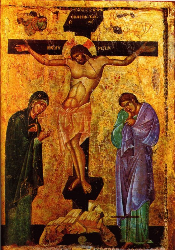 The body of Christ sways to the left and the right on the Cross.  13th century Macedonian icon.