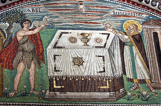 Able and Melchizedek offering Sacrifice.
