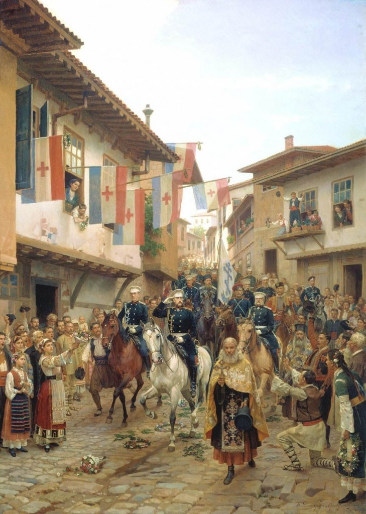 Grand Prince Nikolai Nikolaevich Enters Trnovo in 1877 (Painting by Nikolai Dmitriev-Orenburgsky, 1885) Note the mismatched colors in the priests' vestments. Each priest wears his most beautiful vestments regardless of color.
