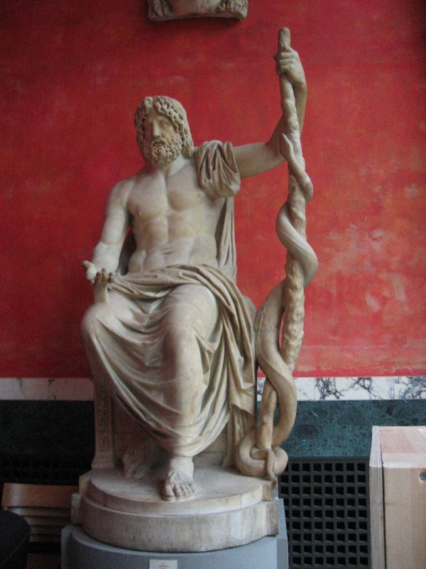 Asclepius hold his rod/staff with a serpent coiled around it.