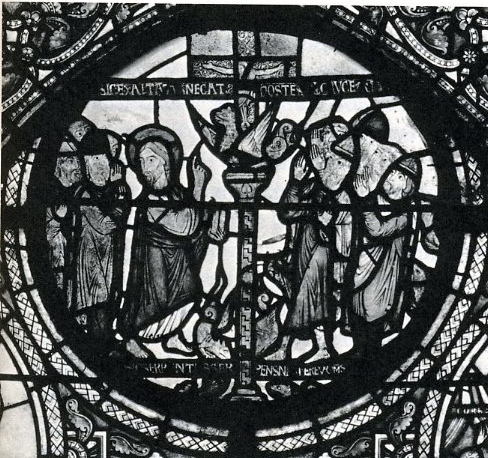 Christ points to the brazen serpent.