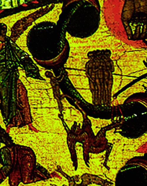 Detail of the Serpent of Tribulation.  A soul attempting to ascend along the tollhouses is pulled down by a demon.