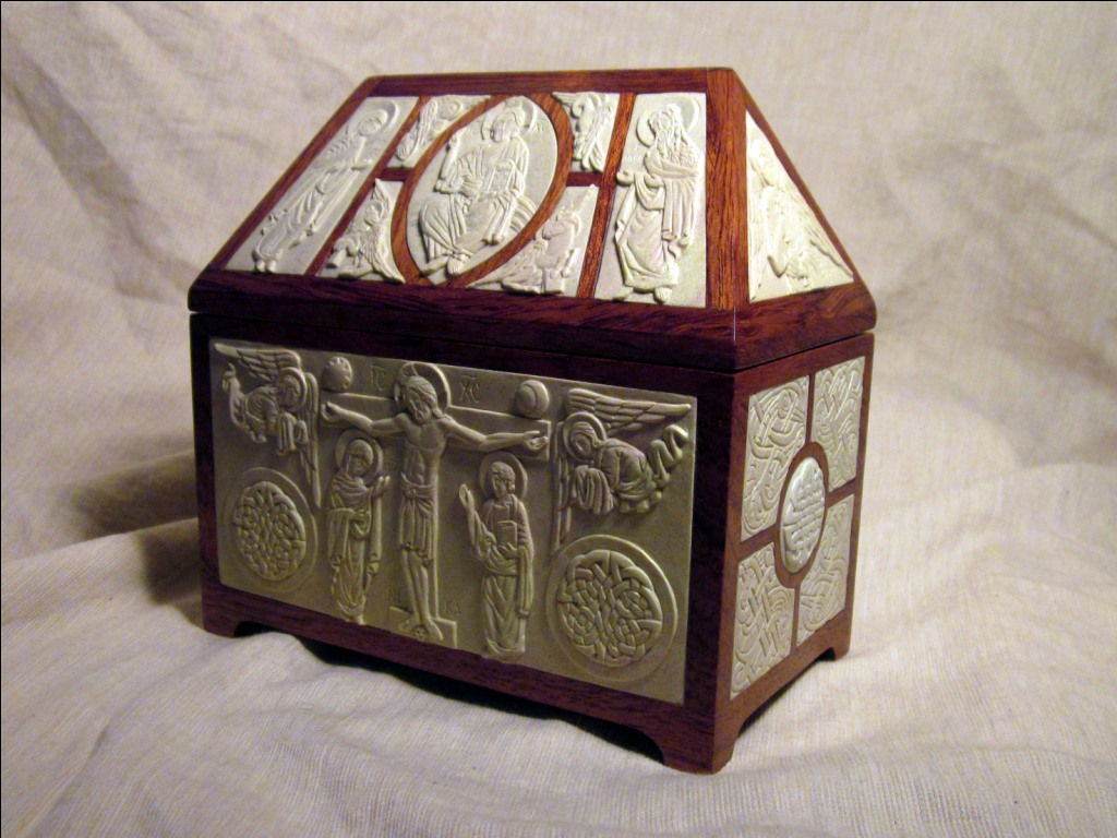 """Steatite and wood reliquary.  7"""" x 7"""" x 4"""". Design and icons by Jonathan Pageau. Frame by Andrew Gould."""