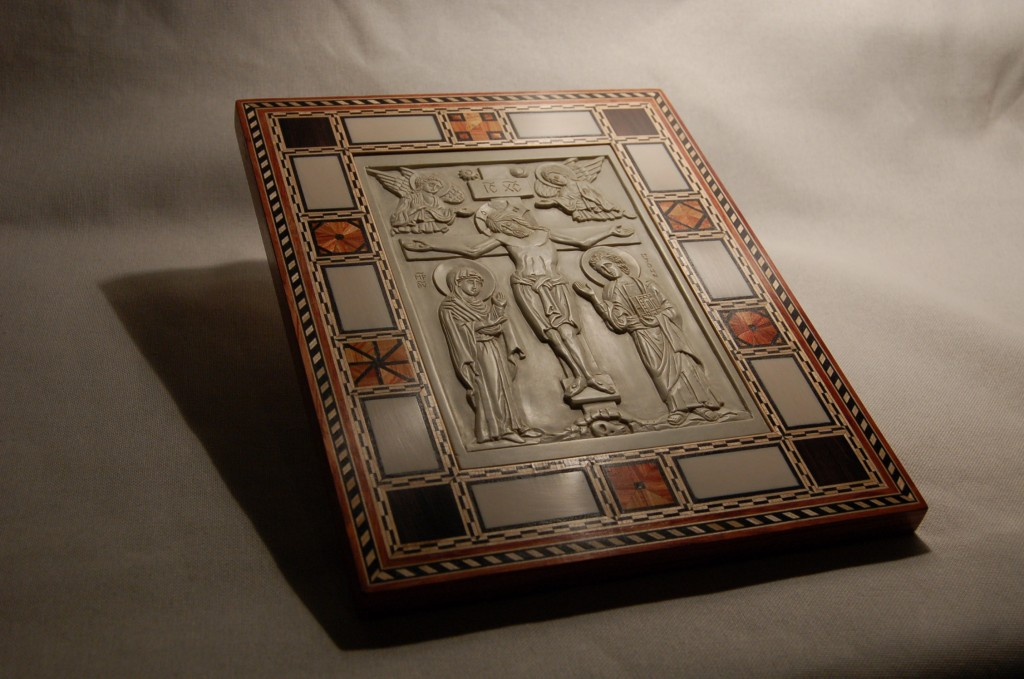 Steatite gospel cover with a ivory and marquetry border. Design and frame by Andrew Gould.  Icon by Jonathan Pageau