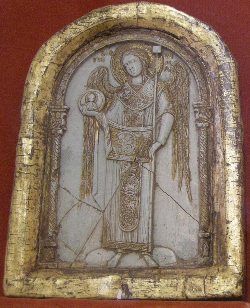 12th century Byzantine steatite icon of St-Michael.