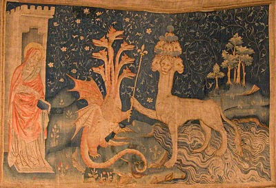 Seven Headed Beast from the Apocalypse Tapestries (1382 AD) created by Jean Bondol, housed in the Château d'Angers