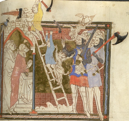 Antichrist Assault on the Church from the Abingdon Apocalypse (1270 AD) housed in the British Library, London