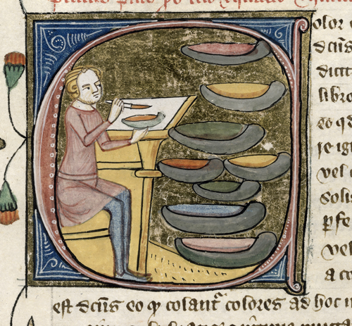 """Medieval writings assume a regard for the individual characteristics, or """"glory,"""" of each individual pigment, regarding them as jewels harmoniously  arranged in a complicated setting."""
