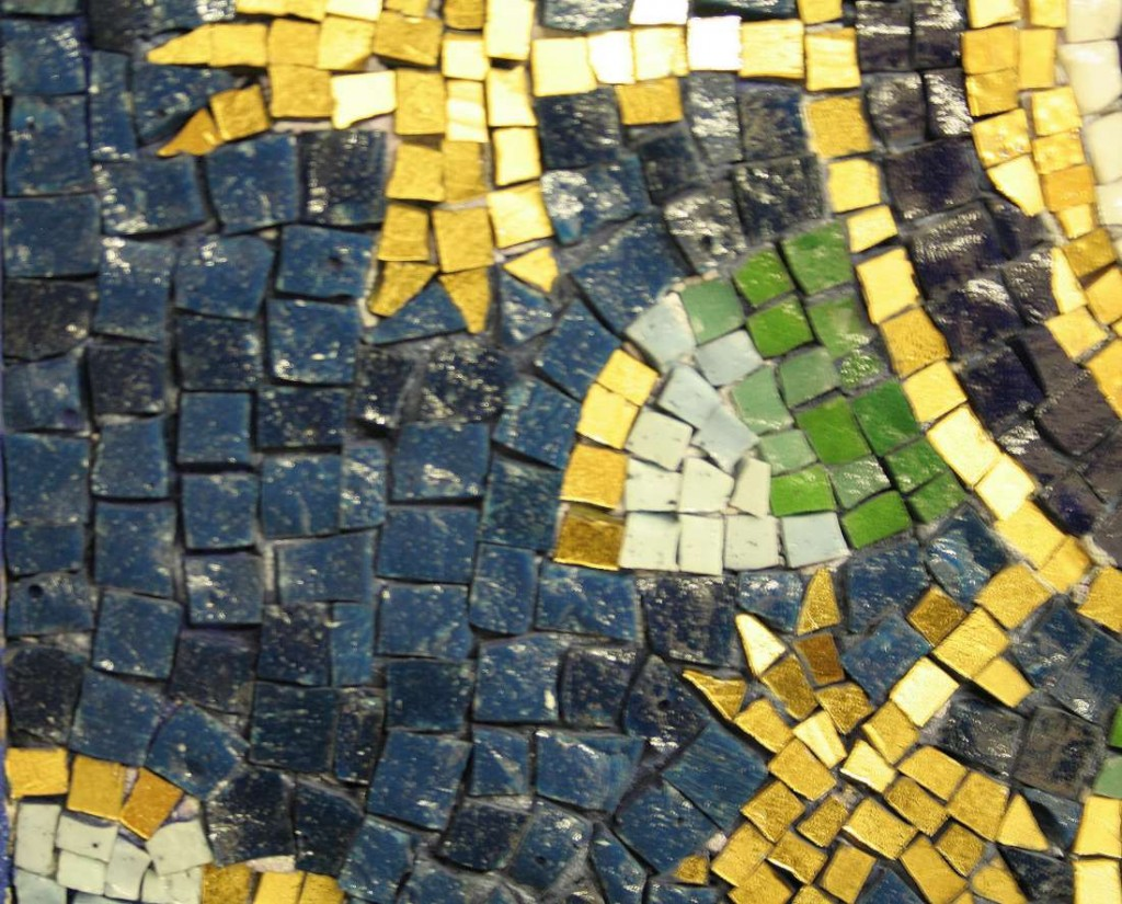 Detail of mosaic in Ravenna, showing shades of blue