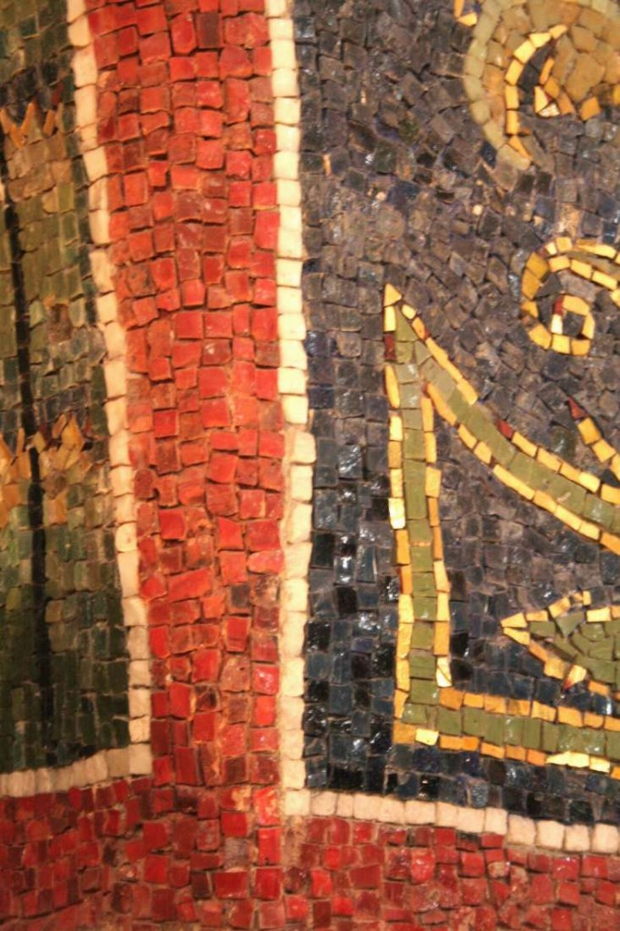 Note the coloured plaster showing between the tesserae. Orthodox Baptistery, Ravenna