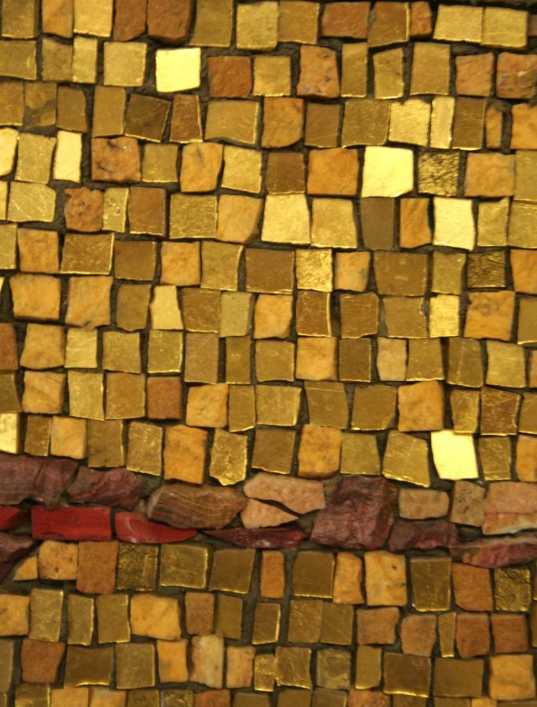 Contemporary mosaic with gold and stone mixed