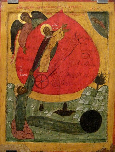 Elijah ascends as Elisha grabs on to his garments of skin. Icon from Novgorod.