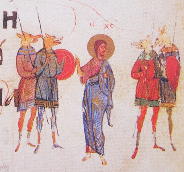 Christ surrounded by Cynocephalic warriors. Kievian Psalter. 15th century