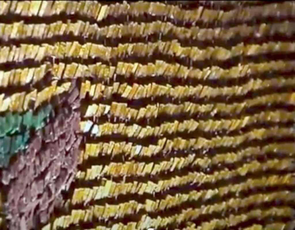 Gold tesserae angled 45 degrees; 6th century mosaic at St Catherine's. Mount Sinai