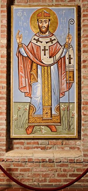 Icon of St. Arnold at the entrance of St. Arnold Brewing Company. By the hand of Fr. Andrei Davydov.
