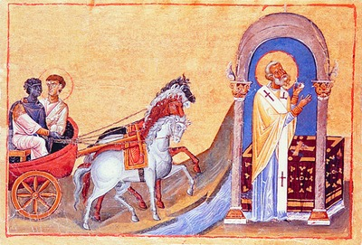 Philip and the Ethiopian Eunuch from the Menologion of St-Basil