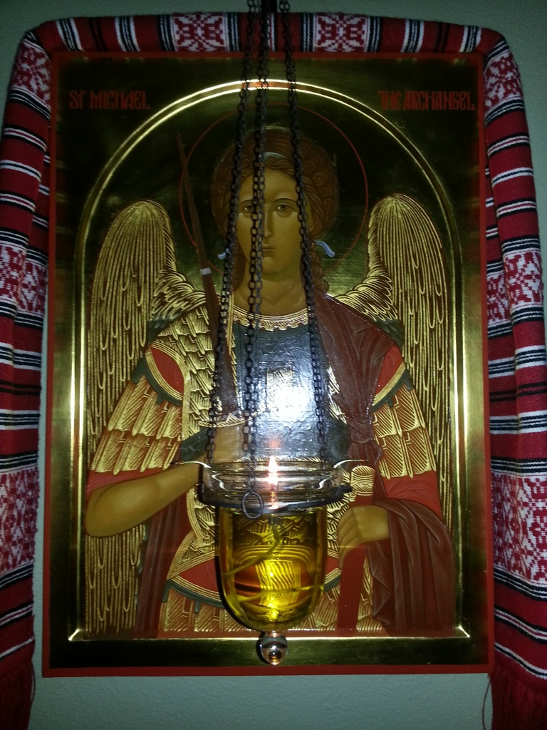 X5 Lampada and icon of Holy St. Michael the Archangel