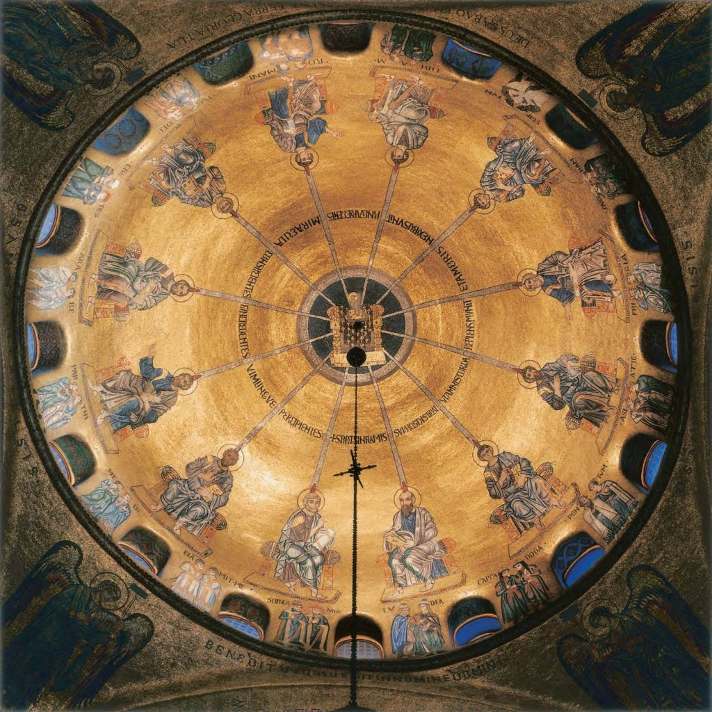 The descent of the Holy Spirit upon the Apostles at Pentecost. Interior of a dome at the 9th-century Basilica of St. Mark, Venice.  12th century mosaic of gold, bronze and other precious materials