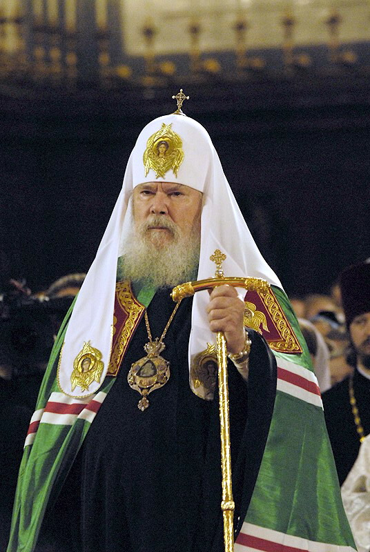 the Patriarch with a panagia designed and made by Evgany Baranov.