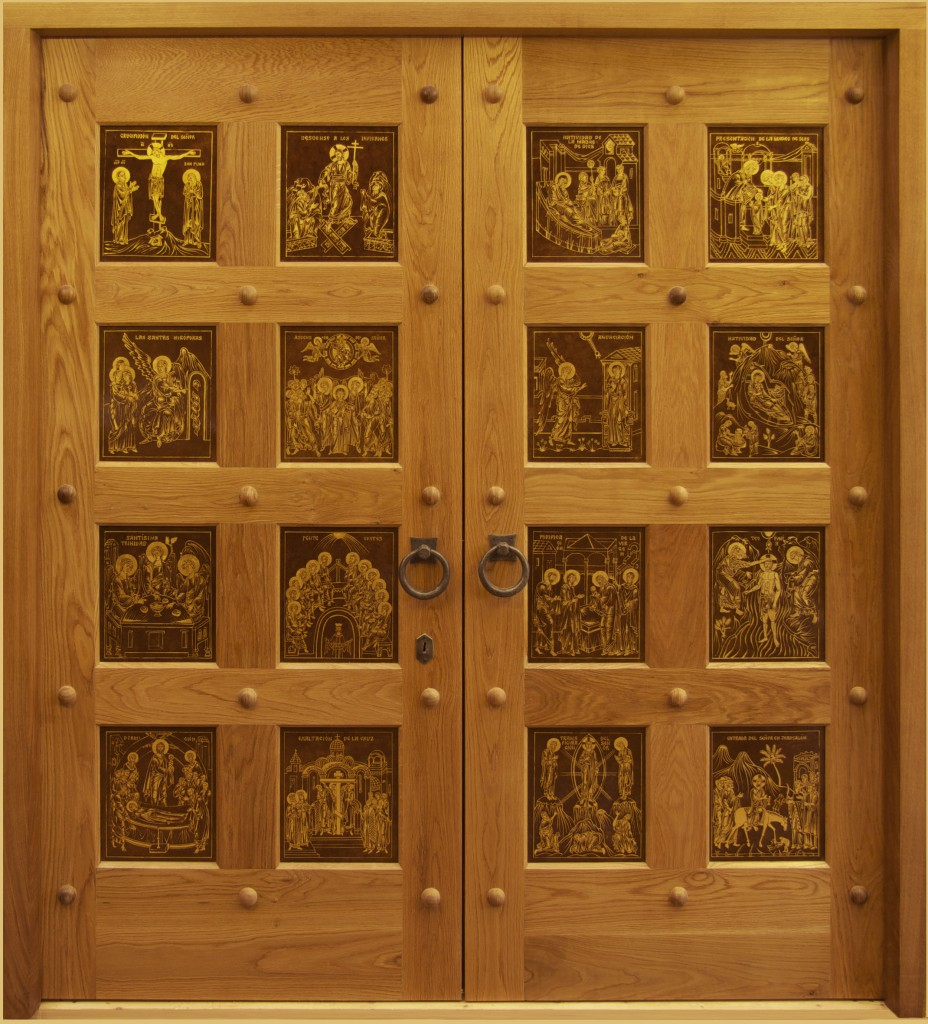 The new doors, oak with gilded copper icons, made by Aidan Hart