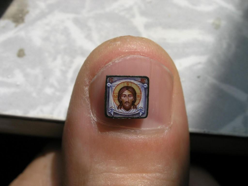 Miniature enamel icon of the Holy Face, by Evgeny Baranov.