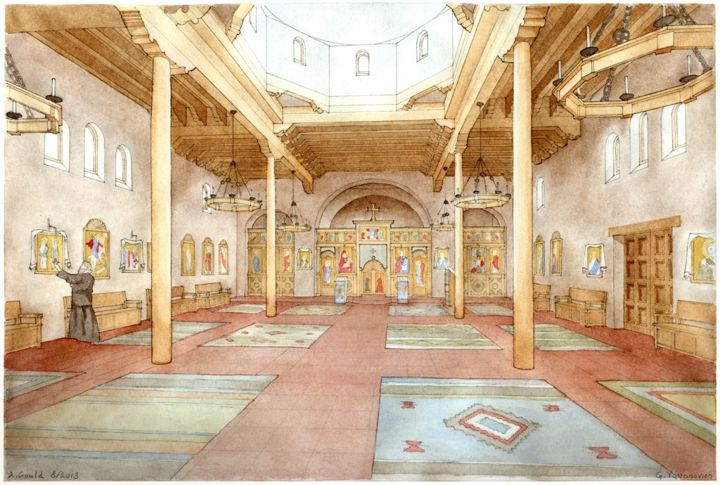 The proposed interior for All Saints of North America Orthodox Church. Only the walls are masonry. The exposed timber roof structure is an economical local technique.