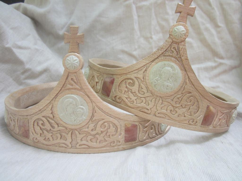 wooden Orthodox wedding crowns