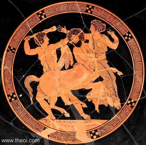The centaur Nessus kidnaps Daeinera, the wife of Heracles. Greek Vase.