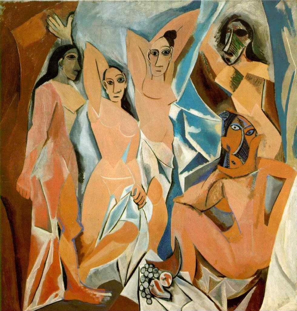 Picasso. Demoiselles D'Avignon, Prostitutes bearing African masks as expressions of unbound sexuality.