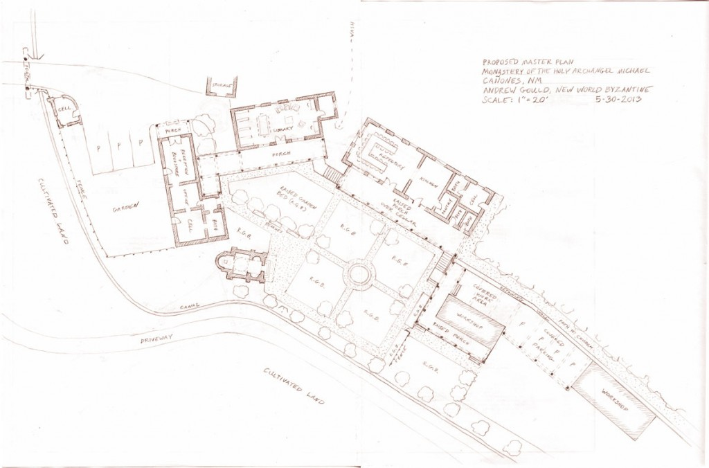 A site plan showing the proposed layout. The buildings must occupy a narrow curving strip of flat land. On the south side the land slopes up steeply. On the north side is an irrigation ditch that will be used to cultivate the terraces below.