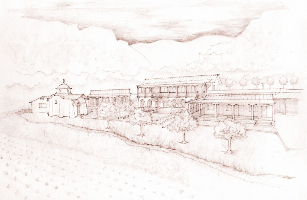 A rendering of the proposed master plan. The one-story buildings are existing (the one on the left is a 200-year-old adobe farmhouse). The chapel, two-story buildings, and gardens, are proposed.