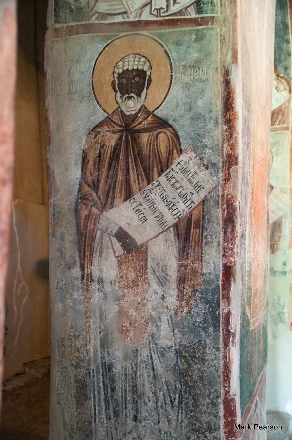 St Moses the black. Fresco from Macedonia
