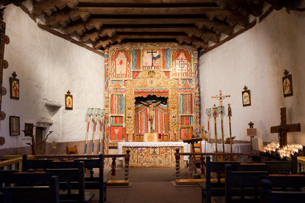 Interior of El Santuario de Chimayo, New Mexico. Built in 1816.