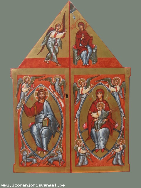 The outside of the tabernacle doors: The Annunciation - Top, Christ Pantokrator and Evangelists - left. Mary the Seat of Wisdom - right.
