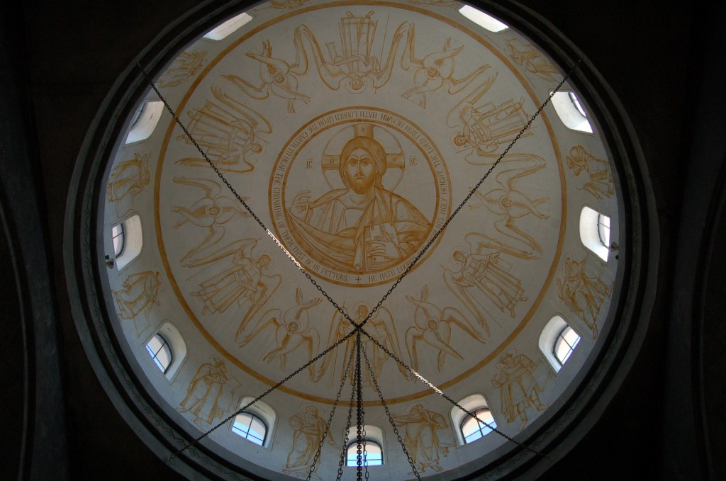 The sepia preparatory drawing was done several years ago when the dome was first plastered.