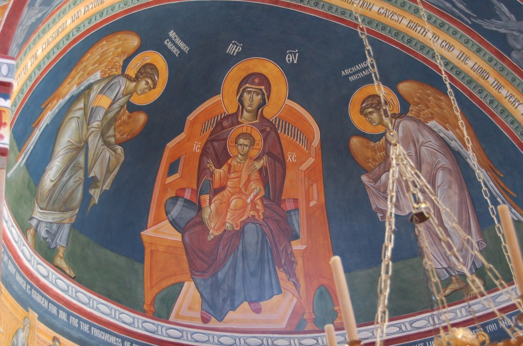 The apse mural at the church - the first phase of painting, completed by Fr. Patrick a number of years ago.