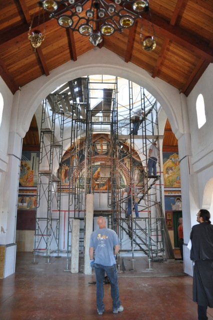 The iconostasis is covered and the scaffolding installed.