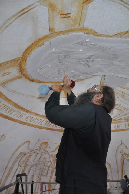 Fr. Patrick transferring the drawing.