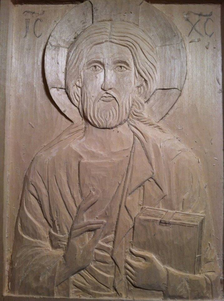 Unfinished first carved icon by Ann Shmalstieg.