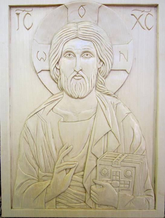 Christ Pantocrator in linden. The model I carved as an example for the pattern I chose