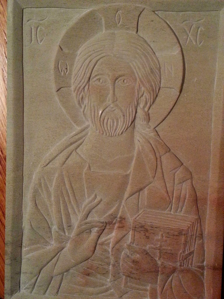 Leigh Alexander's first carved icon.  The picture is bad quality because she worked to finish it until 1:30 am the last night!