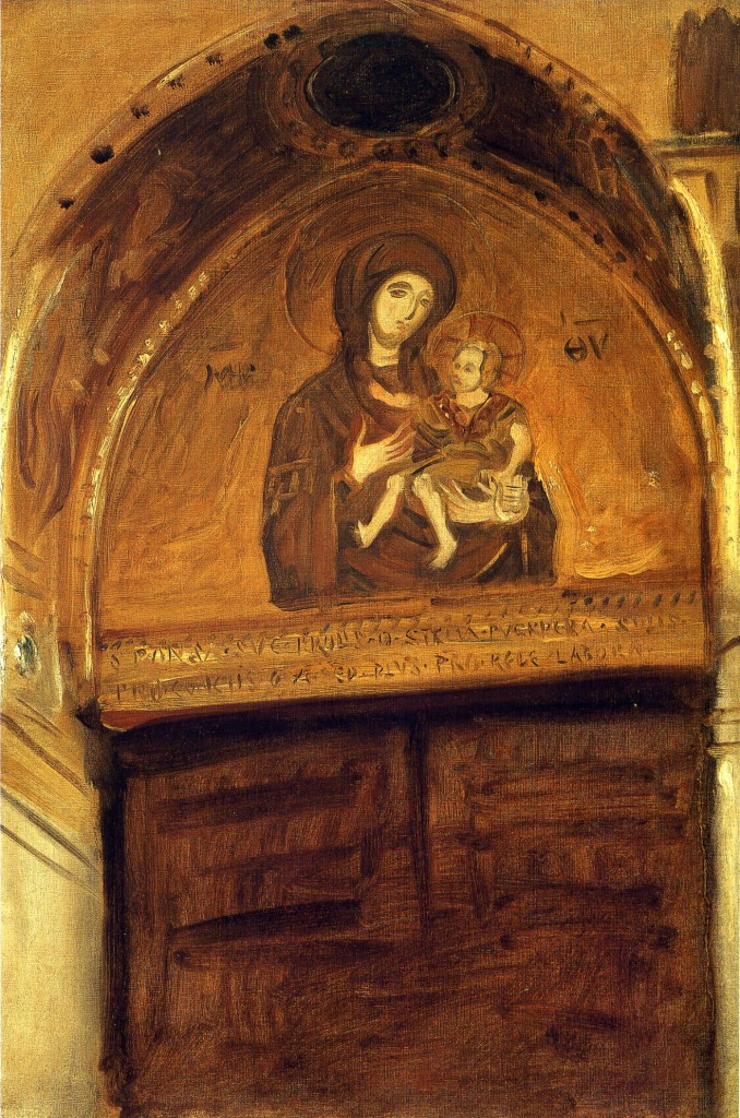 Mosaic of the Theotokos  in the Cathedral of Monreal, Sicily, by John Singer Sargent, 1897.