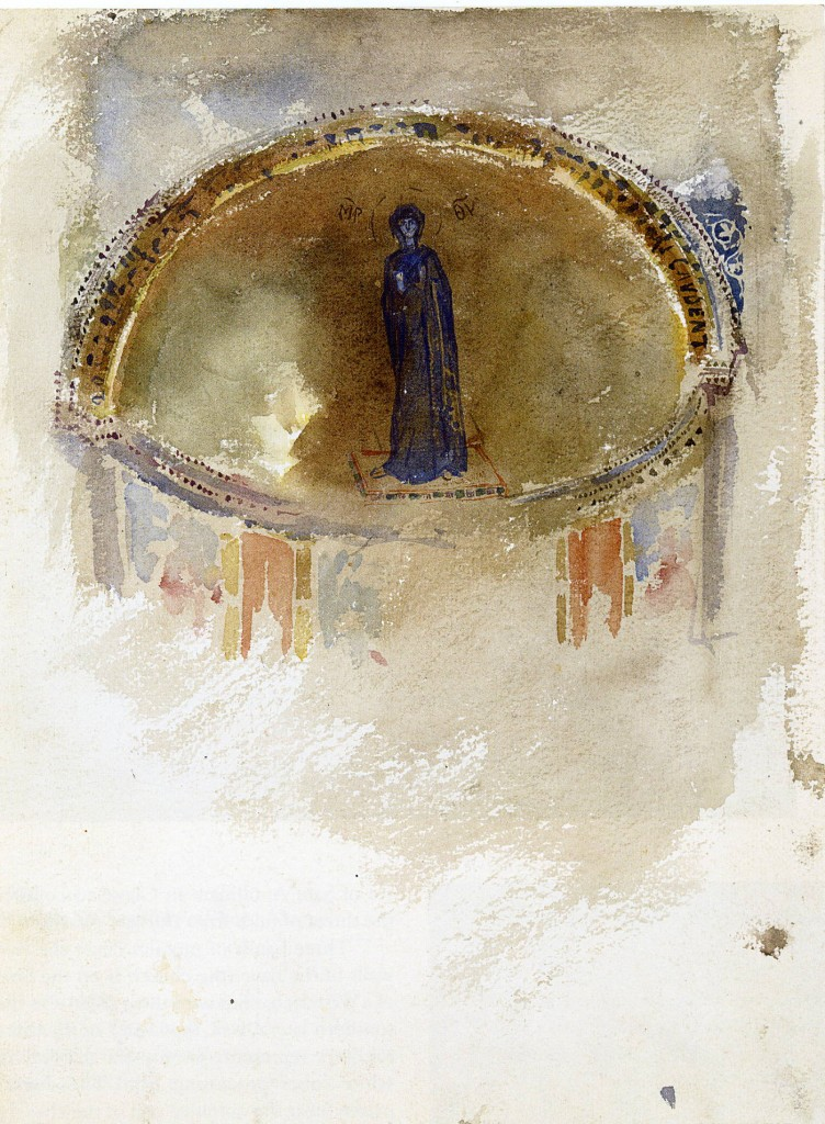 The mosaic of the Theotokos in the Church of Sts. Maria and Donato, Murano. Watercolor by John Singer Sargent, 1898.