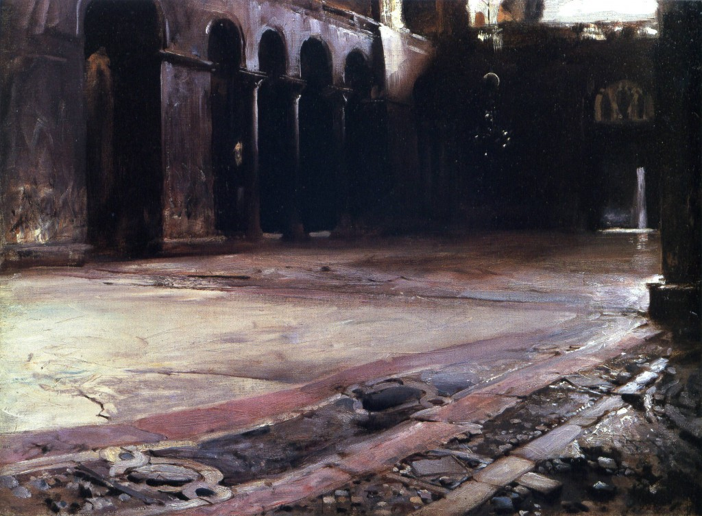 Pavement in San Marco, Venice, by John Singer Sargent, c.1880-1882. The mosaic pavement of San Marco is one of the great sights of the world - as immense and wavy as the ocean itself. It was the subject of famous debates among Victorian preservationists, who argued that it may have actually been built un-flat to better represent the mystical sea. Here Sargent focuses on the ancient pavement reflecting cold morning light, and truly it looks like a harbor surrounded by high Byzantine walls - or perhaps the river of the Waters of Life flowing out from the New Jerusalem.