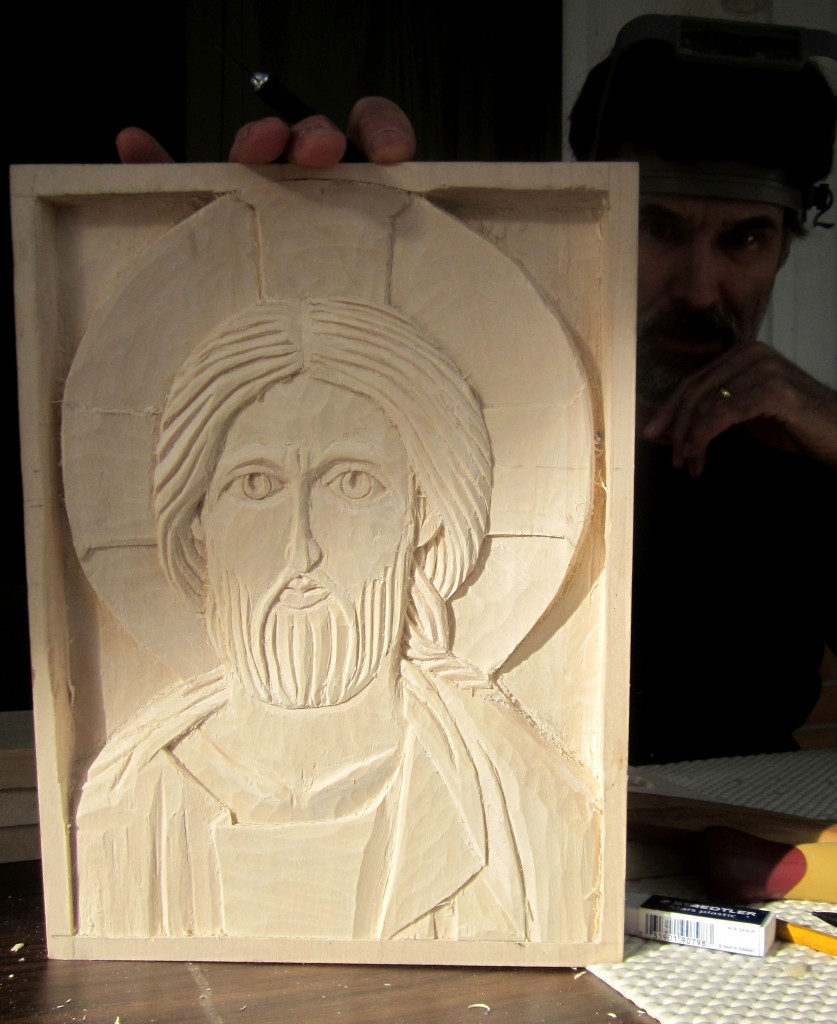 Steve Crider's almost finished icon.  He had never carved before.