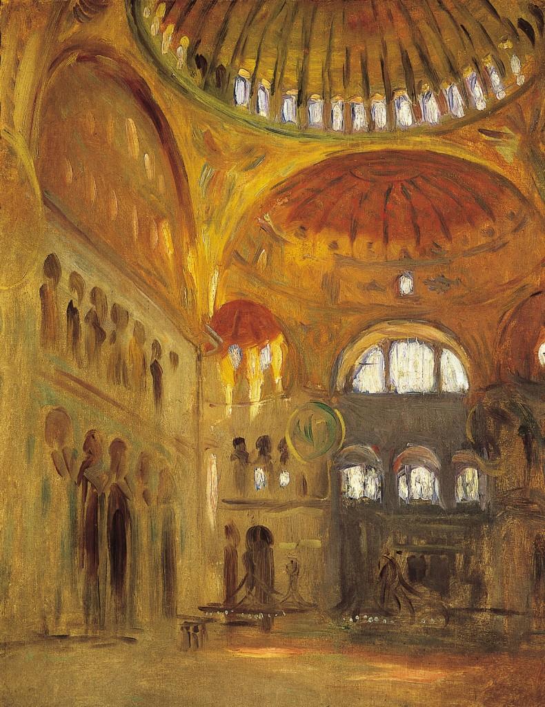 Interior of Hagia Sophia, by John Singer Sargent, 1891.