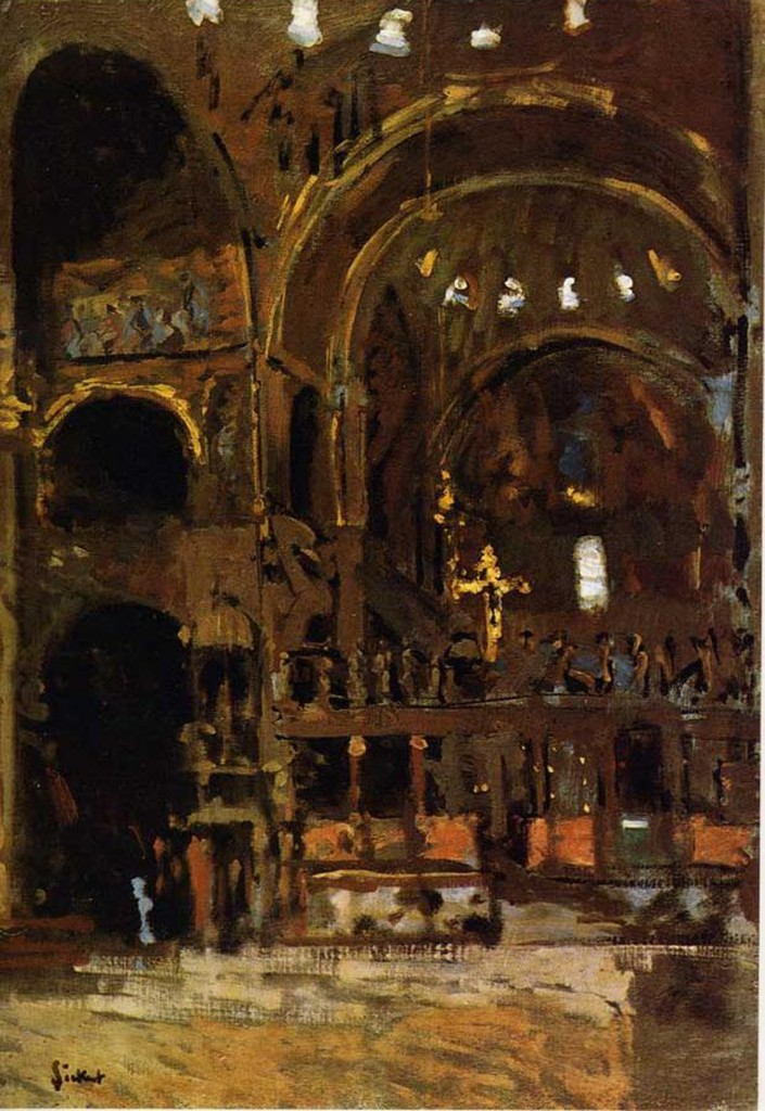 Interior of San Marco, Venice, by Walter Sickert, c.1900. The British impressionist, painting in dim light, has captured the very essence of visual mystery - a darkness and uncertainty alive with richness just barely perceptible.